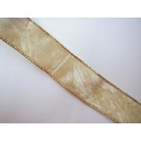Samtband mit Gold u. Drahtk. creme 3,5 cm