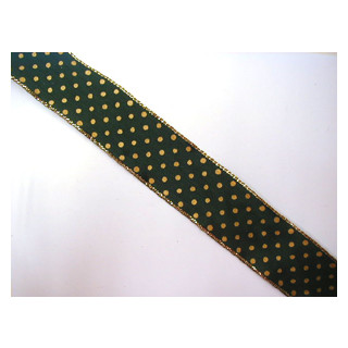 Drahtband  grün u. Goldtupfen 4 cm
