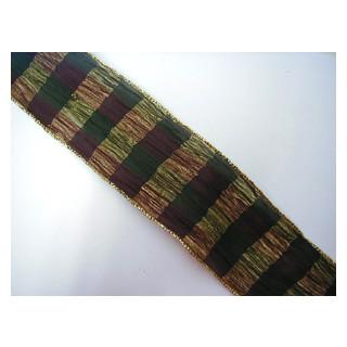 Drahtband Kariert borde./grün/gold 6,5 cm