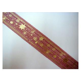 W. Organza Band bordeaux Sterne 4 cm