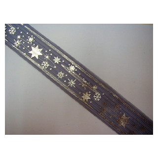W. Organza Band blau Sterne 4 cm