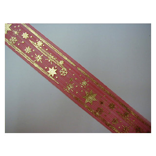 W. Band Organza rot Sterne 4 cm