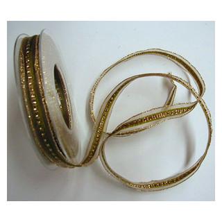 Band Halb-Transp. Opal grün-gold 15mm